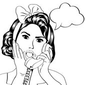 Woman chatting on the phone, pop art illustration — Vecteur