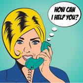 Woman chatting on the phone, pop art illustration — Cтоковый вектор