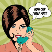 Woman chatting on the phone, pop art illustration — Wektor stockowy