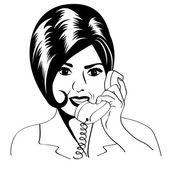 женщина, болтать по телефону, иллюстрации, поп-арт — Cтоковый вектор