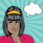 милый ретро негритянка в стиле комиксов — Cтоковый вектор