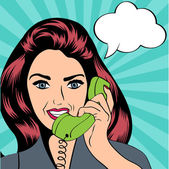 Woman chatting on the phone, pop art illustration — Stock Vector