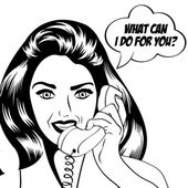 Woman chatting on the phone, pop art illustration — Stockvektor
