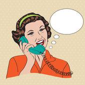 Telefonla konuşurken popart komik, retro kadın — Stok Vektör