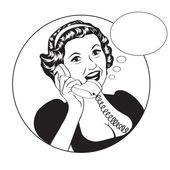 Popart comic retro woman talking by phone — Vecteur