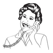 Popart comic retro woman talking by phone — Wektor stockowy