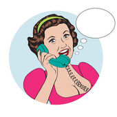 Popart comic retro woman talking by phone — Stock Vector