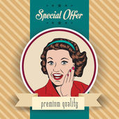 Happy woman, commercial retro clipart illustration — Stock Vector
