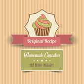 Vintage homemade cupcakes poster — Stock Vector