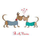 Valentine' s day greeting card with cartoon dog characters — Stock Vector