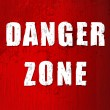 Stock Vector: Danger zone old sign