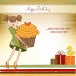 Happy Birthday card with girl and cup cake — Stock Vector