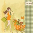 Baby announcement card with beautiful pregnant woman on shopping — Stock vektor
