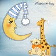 Vector de stock : Welcome baby greetings card