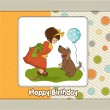 Young girl and her dog in a wonderful birthday greeting card — Stock Vector