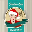 Christmas sale design with sexy Santa girl — Stock Vector