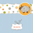 Cute baby shower card with sheep — Stock Vector