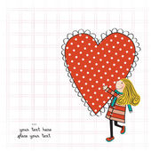 Funny girl with hearts. Doodle cartoon character. — 图库矢量图片