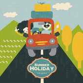 Retro couple traveling by car — Vector de stock