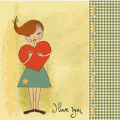 Fille avec grand coeur — Vecteur