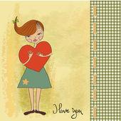 Meisje met groot hart — Stockvector