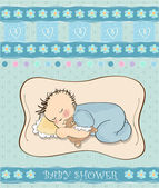 Baby boy shower card with little baby — Stock Vector