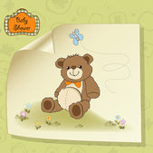 Baby shower card with cute teddy bear toy — Stock Vector