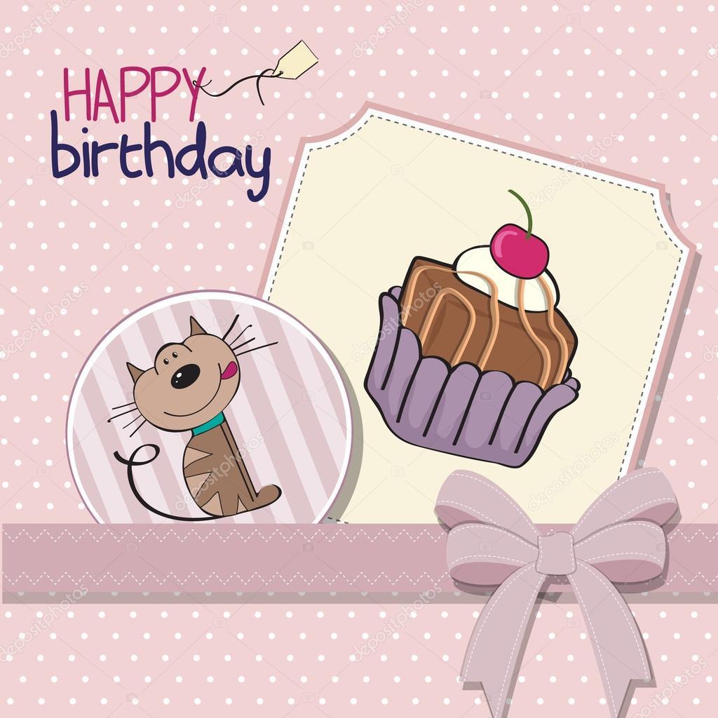 生日贺卡和一只猫,等着吃一个大蛋糕 — 图库矢量图片#40607325