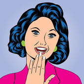 Pop Art illustration of a laughing woman — Vector de stock