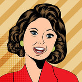 Pop Art illustration of a laughing woman — ストックベクタ