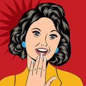 Pop Art illustration of a laughing woman — Vecteur