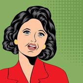 Pop Art illustration of a sad woman — Stock Vector