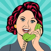 Pop Art lady chatting on the phone — Stock Vector