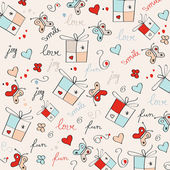 Hand draw texture - seamless pattern with hearts, gifts, butterf — Stock Vector