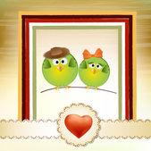Fåglar par i kärlek — Stockvektor