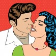 Pop Art KIssing Couple — Stock Vector