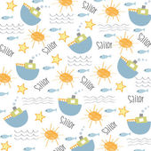Seamless boat pattern — Stock Vector