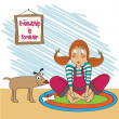 Young girl receives a bone gift from her puppy — Stock Vector #41502255