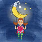 Aydan asılı bir swing swinging nostaljik genç kız — Stok Vektör