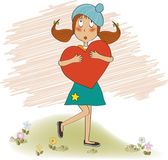 Young girl holds a heart — Stock Vector