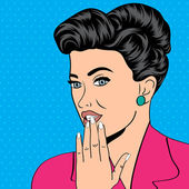 Cute retro woman in comics style — Stockvektor