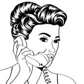 Woman chatting on the phone, pop art illustration — 图库矢量图片