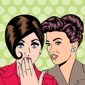 Two young girlfriends talking, comic art illustration — Stock Vector