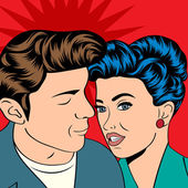 Man and woman love couple in pop art comic style — Stockvektor