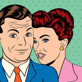 Man and woman love couple in pop art comic style — Vector de stock