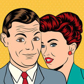 Man and woman love couple in pop art comic style — Stock vektor