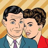 Man och kvinna älskar par i popkonst komiska stil — Stockvektor