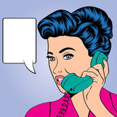 Woman chatting on the phone, pop art illustration — Stock vektor