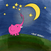 Cute pink elephant with a bouquet of stars — Stock vektor