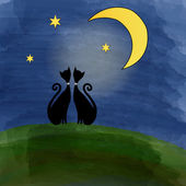Two cats on a meadow under the moon — 图库矢量图片